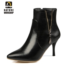High thin heels women boots fashion Ankle boots Sequined Pointed Toe Knight boots women shoes Solid Soft Leather Martin boots
