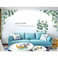 Love Story Wall Stickers Home Decor Living Room DIY Green Leaves Wall Decorations Living Room Modern Art Home Decor