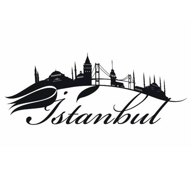 Dctal Стамбуле город этикета ориентир Skyline Наклейки на стену эскиз плакат Parede Домашний Декор mosquesticker