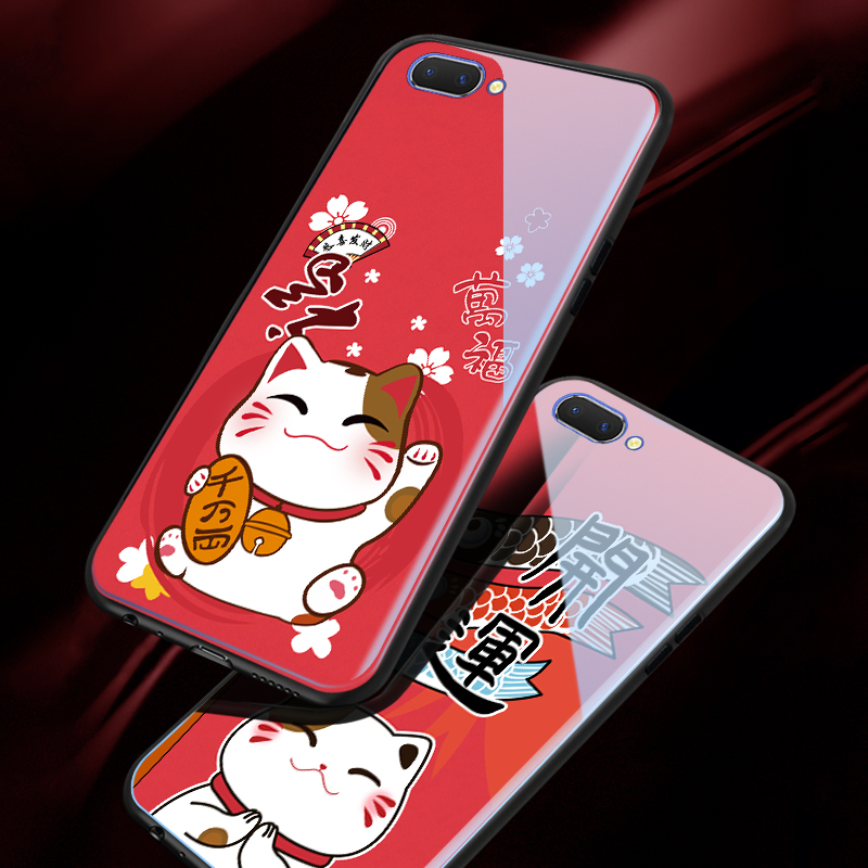 Fashion Lucky Cat Anime Mobile Phone <font><b>Cases</b></font> For <font><b>OPPO</b></font> A83 A57 / A39 Christmas <font><b>Glass</b></font> Luxury Cover For <font><b>OPPO</b></font> A1 A3 <font><b>A3S</b></font> A5 AX5 A7 image