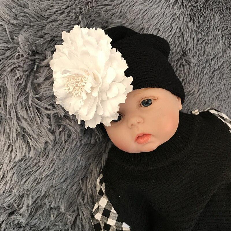 Hand Crochet Knit Cap Kids Girls Winter Warm Baby Toddler Beanie Hat Flower Hot Sale 2017