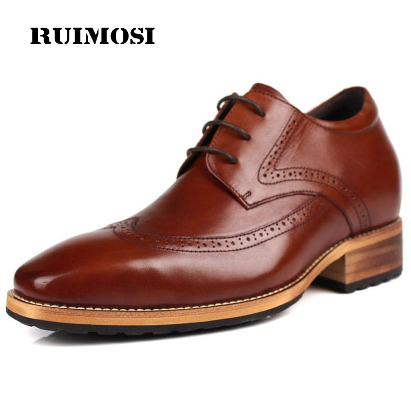 RUIMOSI New Vintage Brand Man Dress Shoes Genuine Leather Cow Brogue Oxfords Fashion Round Toe Formal Men's Wing Tip Flats CA15