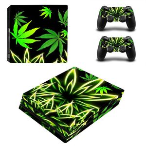 Image 2 - Green Leaf For PS4 Pro Vinyl Skin Sticker Cover Console & 2PCS Controller Skin Decal For Sony Playstation 4 Pro Game Accessories