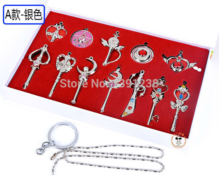 Anime Japan Classic sailor moon Necklace Sailor Moon Tsukino Usagi prism KEY  Weapons in box