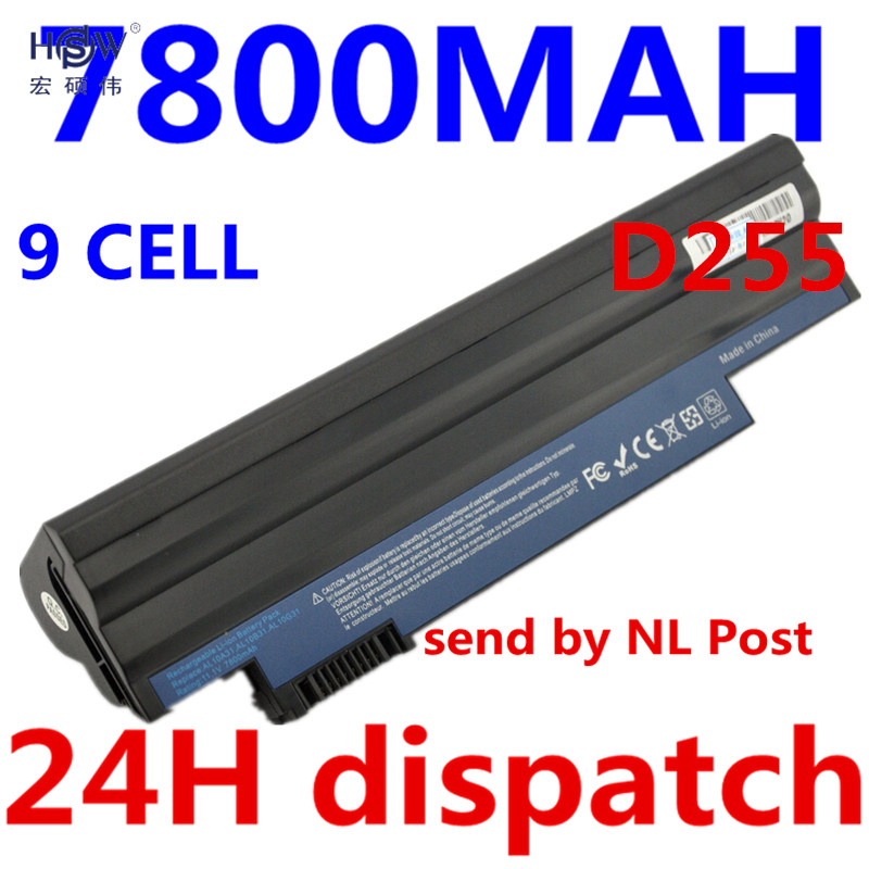 HSW 7800mah 9cells laptop battery For Acer Aspire One 522 D255 722 AOD255 AOD260 D255E D257 D260 D270 AL10A31 AL10B31 AL10G31