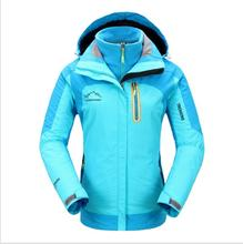 2017 Softshell Outdoor Jacket  Women Men Lovers Winter Waterproof Windproof Hiking Jacket Fleece Hooded Mountain Wear Rose blue
