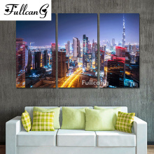 FULLCANG mosaic diamond embroidery prosperous city painting cross stitch triptych scenery full square rhinestone E1113