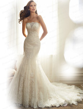 Free Shipping 2015 Noble Custom Made Trumpet Strapless Appliques Beaded Corset Back Sweep Train Luxury Wedding Dress Gown Y11574