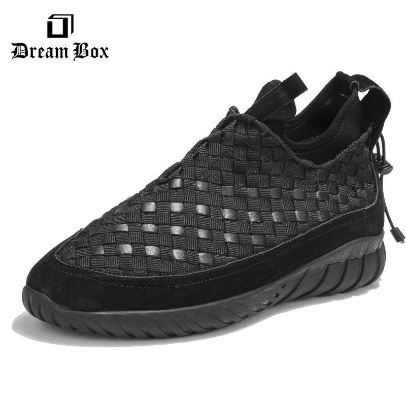 Dreambox 2017 autumn and winter trends in Europe and America woven leather breathable shoes in thick soled sports shoes men зил быч к где