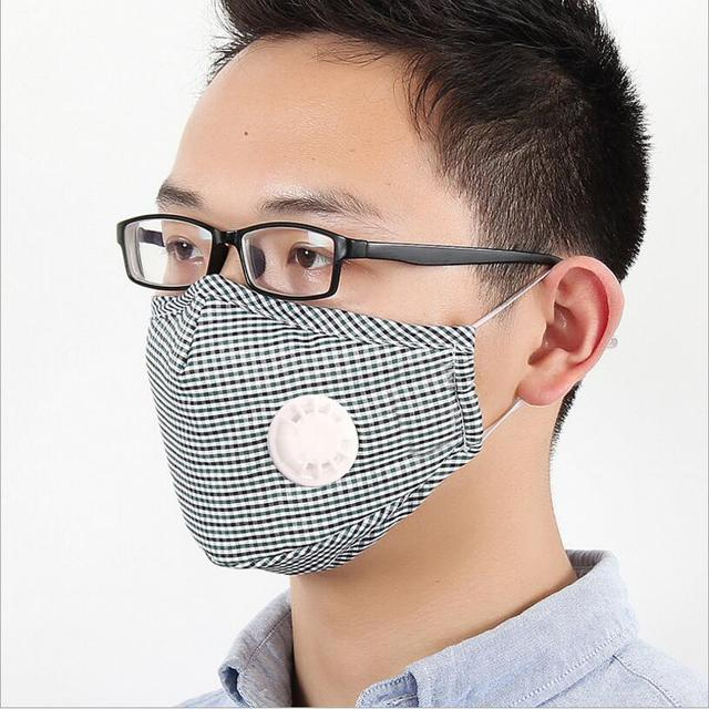 Cotton PM2.5 Anti Haze Mask Breath valve anti-dust mouth mask Activated carbon filter respirator Mouth-muffle black mask face 2