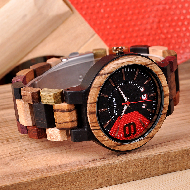 Mixed Wooden Wristwatch, in aWooden Gift Box 3
