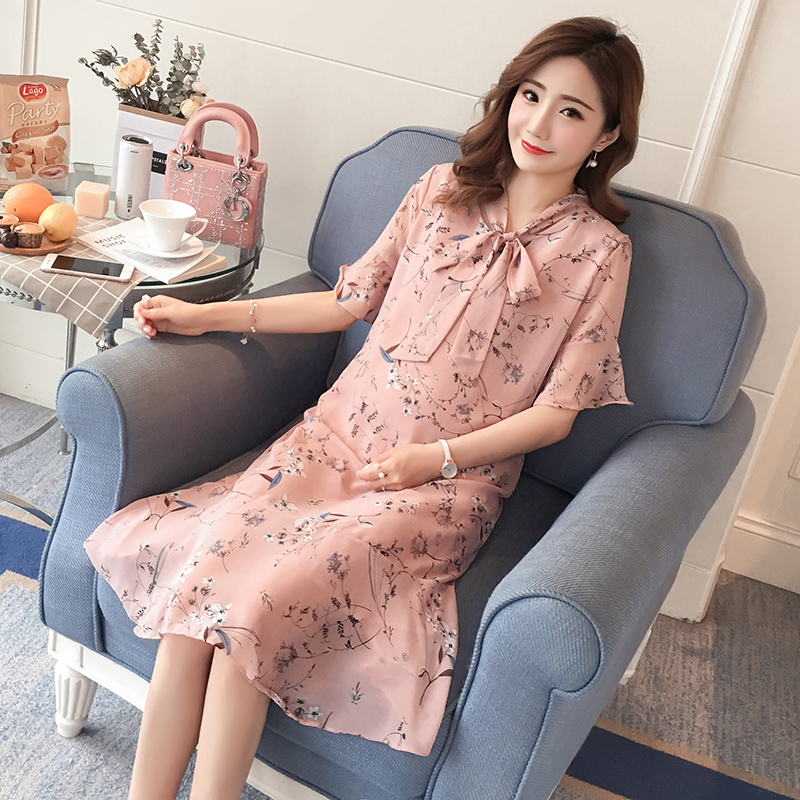 Flower Print Maternity Clothing Preppy Style Pregnancy Dress 2018 Cotton Fashion Floral Maternity Clothes For Pregnant Women