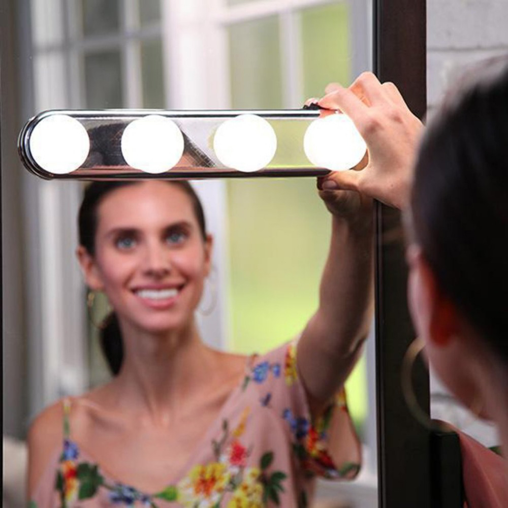 Makeup LED Vanity Mirror Lights Make Up Light Super Bright 4 LED Bulbs Portable Cosmetic Mirror Light Kit Battery Powered Lamp(China)