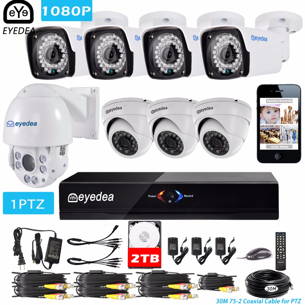 Eyedea 8 CH HDMI DVR 1080P 5500TVL 36x Zoom PTZ Speed Dome Coaxial Control Night Vision Outdoor CCTV Security Camera System 2TB mother s day eyedea 8 ch phone monitor video dvr recorder 2 0mp bullet outdoor led night vision cctv security camera system 2tb