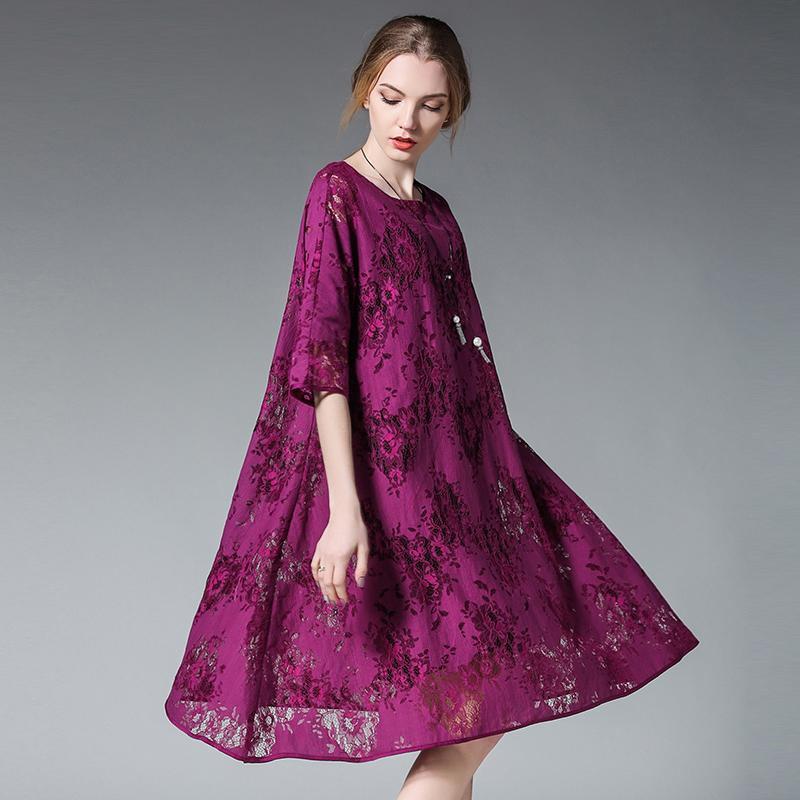 US $29.96 30% OFF|Euramerican women Plus size dresses fashion loose Lace  dress two piece casual crew neck High waist Elegant dress short sleeve-in  ...