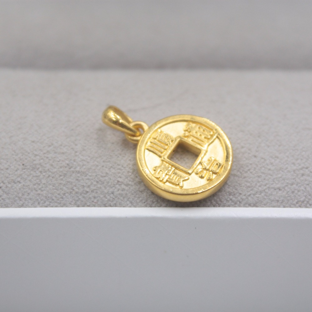 New Arrival Pure 24k Yellow Gold 3D Women Lucky Coin Pendant 1-1.5gNew Arrival Pure 24k Yellow Gold 3D Women Lucky Coin Pendant 1-1.5g
