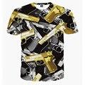 2016 fashion women/men short sleeve 3d t shirt funny print yellow more gun tshirt summer streetwear tee shirts clothes camisetas
