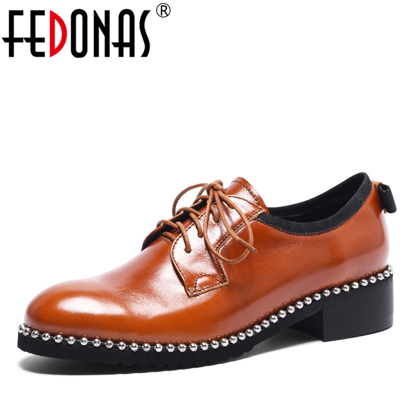 FEDONAS Women Rivets Pumps Sexy Punk Thick Heel Genuine Leather SHoes Woman Female Lace Up Comfort Casual Pumps Retro ShoesFEDONAS Women Rivets Pumps Sexy Punk Thick Heel Genuine Leather SHoes Woman Female Lace Up Comfort Casual Pumps Retro Shoes