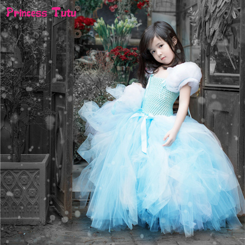 Girls Princess Cinderella Dress Tulle Fancy Girl Birthday Party Tutu Dress Kids Halloween Christmas Cosplay Cinderella Costume fancy girl mermai ariel dress pink princess tutu dress baby girl birthday party tulle dresses kids cosplay halloween costume