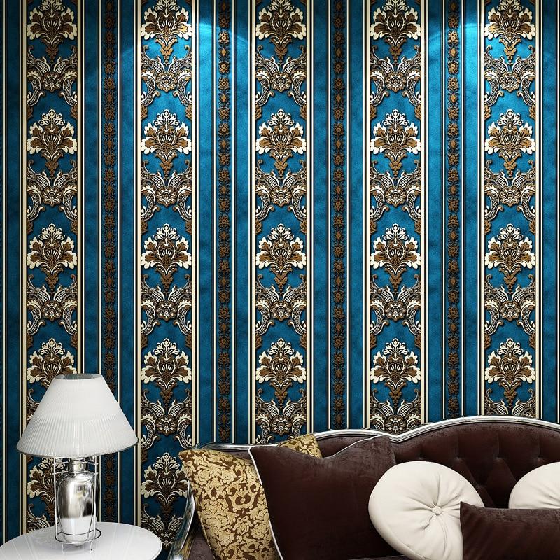 ФОТО papier peint European 3D Wall Paper Flower 3D Wallpaper Bedroom Non Woven Wallpapers for Walls 3D Striped Wall Paper Roll