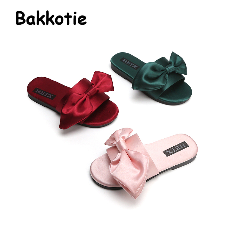 Bakkotie 2018 New Summer Baby Girl Fashion New Red Mules Slipper Children  Toddler Casual Beach Bow Pink Slip On Shoe Kid Flats a29c1dc8dc37