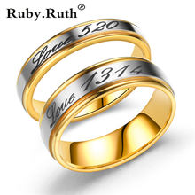 2019 Fashion Gold Silver Love 520 1314 Rings Memory Wedding I love you lifetime Couple Valentine's Day Ring Jewelry Dropshipping(China)