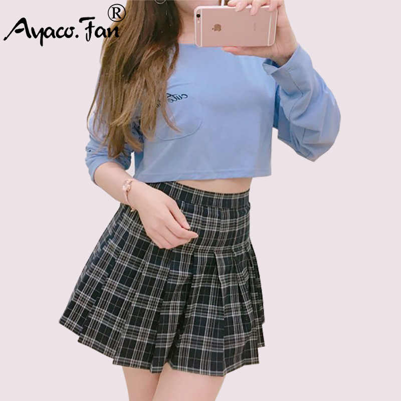 c0dd586ca4 New Preppy Style Summer Women Skirts Vintage Students Sweet Mini Plaid Sexy Pleated  Schoolgirl Saias Femininas