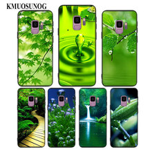 For Samsung Galaxy Note 9 8 S10 S9 S8 Plus Lite S7 S6 Edge S5 Mini Black Silicone Phone Case Green natural cute plant Style