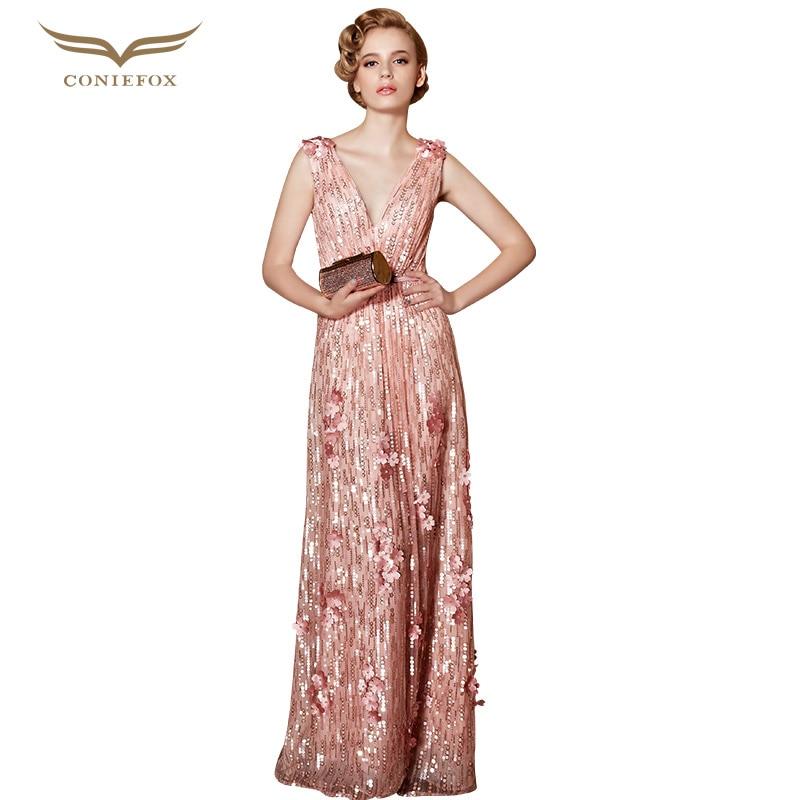 Coniefox 30856 Vestidos De Noche Plus Size Sequined Sleeveless