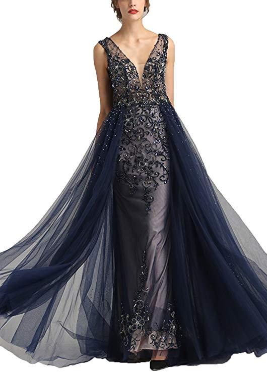 Robe De soirée bleu marine avec Train 2019 Long diamant cristal Tulle Robe De soirée formelle Robe De soirée Longue