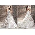 Robe De Mariee vestido de Bola Vestidos de Novia Con Gradas Sin Tirantes Blanco/Marfil Satinado Decente Maravilloso Matrimonio Vestido De Novia 2017