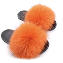 2019 Women Spring Summer Real Fox Fur Feather Vegan Leather Open Toe Single Strap Slip On Sandals Multicolor for Indoor