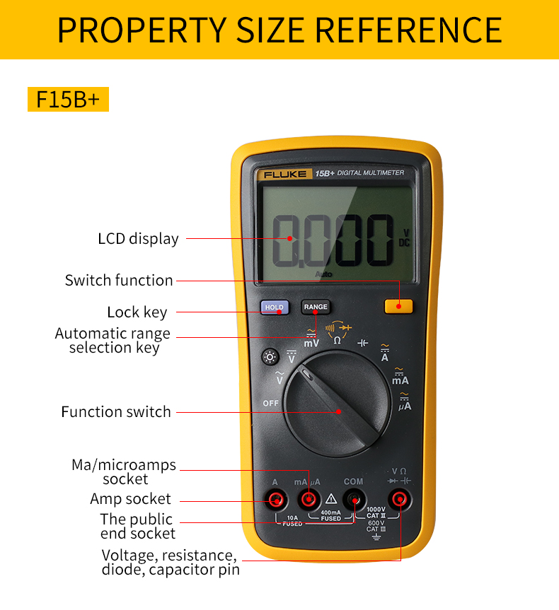 Fluke Digital Multimeter with Auto Range and 4000 Counts for AC DC Voltage and Current 13