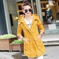 Горячие продажа Осень зима женщины Тренч мода свободные средней длины Тонкий толстовки пальто бесплатная доставка