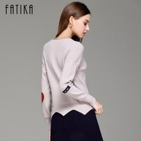 FATIKA New 2017 Fashion Sweater Women Solid Pullovers Long Sleeve O Neck Appliques Irregular Hem Knitted