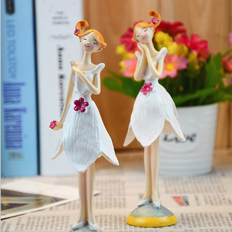 Europe Style Resin Doll Fairy Figurines 2PCS/SET Handmade Beautiful Angel Wedding Home Decoration Gifts Free Shipping