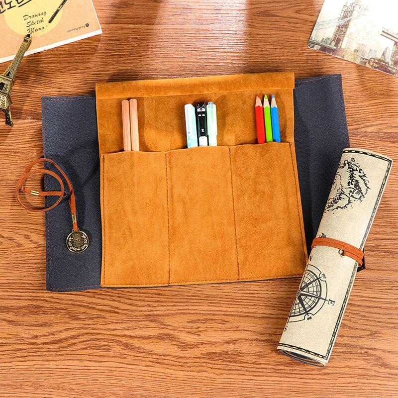 1 шт. случайный ретро-тенденции пиратский паттерн Портативный большой Ёмкость канцелярских мешок карандаша модные кожаные Roll Up ручка сумки ...