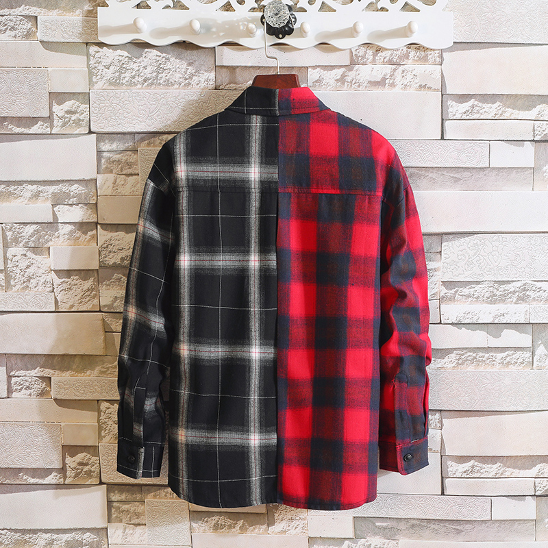Japan Style Long Sleeve Flannel Plaid Casual Men Shirt 2019 For Spring Autumn Clothes 2