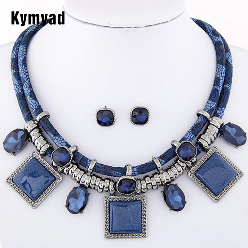 Kymyad Collier Femme Geometric Necklaces & Pendants Jewelry Sets Crystal Resin Collares Statement Colar For Women Joyeria delicate resin coin hollow out geometric statement necklace for women