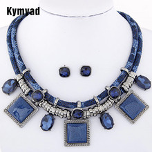 Kymyad Collier Femme geométrico Collares y colgantes joyería conjuntos cristal resina Collares declaración Colar para las mujeres Joyeria