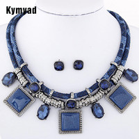 Fashion Women Sweater Accessories Exaggearted Cubic Pendant Choker Necklace Earring Jewelry Sets Women Accessories