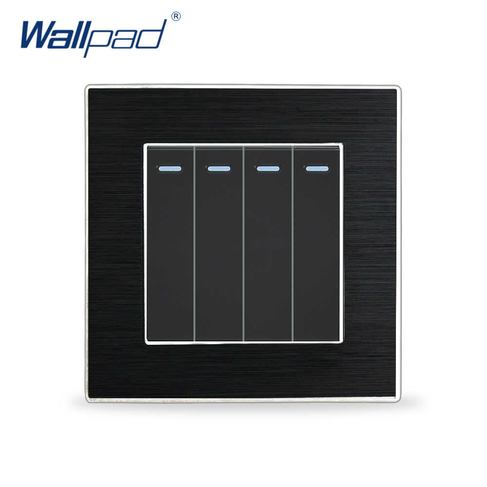 Hot Sale 4 Gang 1 Way Fluorescent Light Switches Wallpad Luxury Push Button Wall Light Switch Satin Metal Panel Rocker Switches