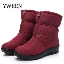 YWEEN Winter Women Boots Mid-Calf Bota Waterproof Ladies Snow Shoes Woman Plush Botas Mujer Invierno