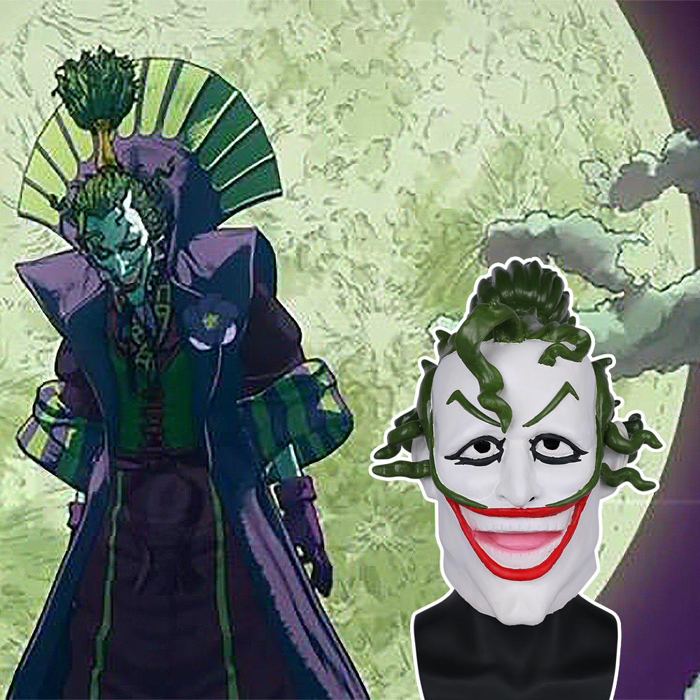 2018 Movie Batman Ninja Devil Joker Mask Cosplay Scary Joker Latex Helmet Prop Halloween Party