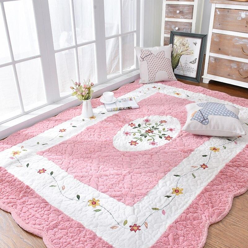 Tapis de tatami rose miel, tapis de sol écologique matelassé 100% coton pour salon, tapis de yoga, coussin d'éveil pour bébé