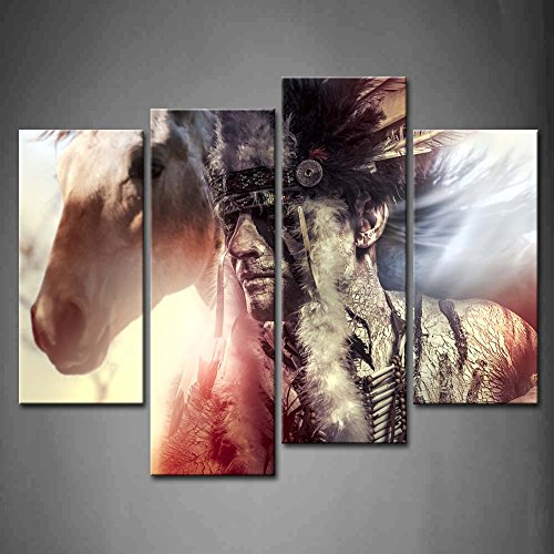 BANMU 4 Panel Wall Art Man Feather Headdress And Tomahawk Horse Gray Background Painting Pictures Print On Canvas People