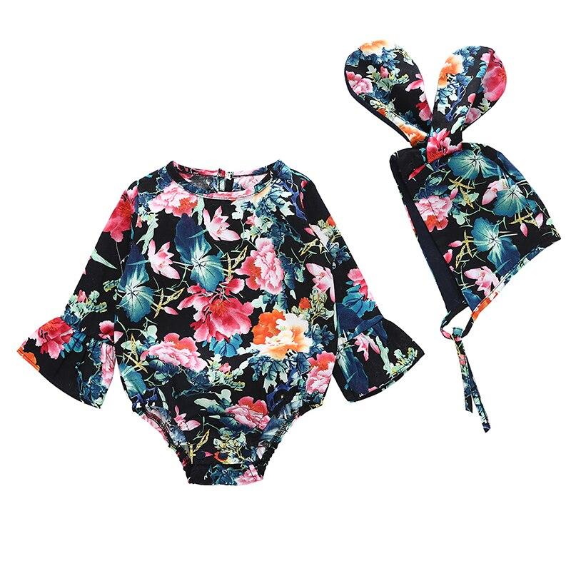 Bodysuit-Set Long-Sleeve Ear-Design Newborn Girls 2pcs Autumn Rabbit Floral