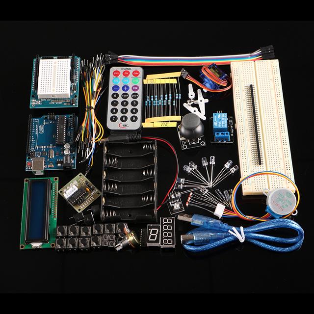 2016 El Más Nuevo Starter Kit para Arduino Con UNO R3 AVR MCU LCD Sensor de Motor Super Kits de Aprendizaje