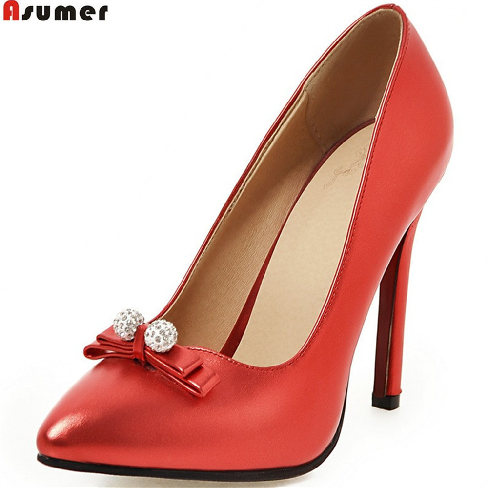 все цены на Asumer red black pink fashion spring autumn new women pumps pointed toe shallow ladies prom shoes elegant super high heels shoes онлайн
