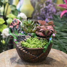 Fairy Garden Miniature Broken Pot Flower Pot Villa House on the Cliff Sky Castle Sculpture Planter Red